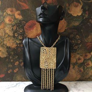🔥 Vintage Gold Tone Fringe Necklace
